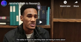 A screen shot of Jerome White's video about his research experience in the Dietrich School.