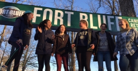 Christina Potenza adn other students at Fort Bluff, where they built trails as part of a service learning experience.